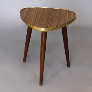Late 1960's Formica triangular side table - wood effect.