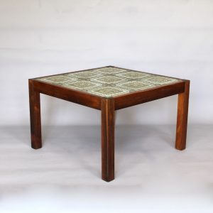 A 1970's tiled topped coffee table with rosewood frame