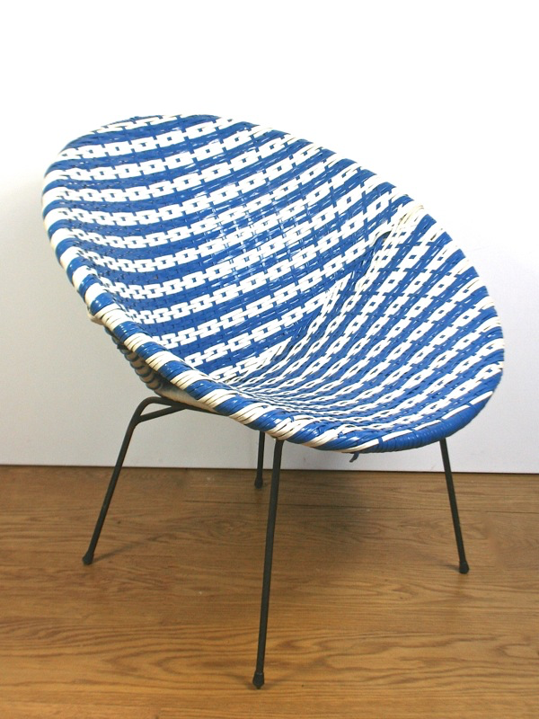A 1950 S Blue And White Woven Vinyl Chair Elephant Amp Monkey