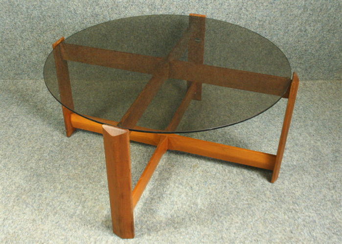 A 1970s Myers Circular Smoked Glass Coffee Table Elephant Monkey