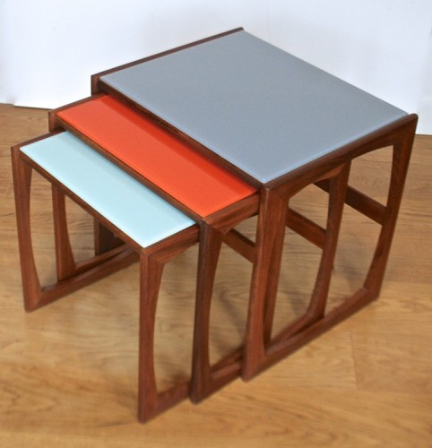 A Nest Of Up Cycled Gplan Quadrille Range Tables