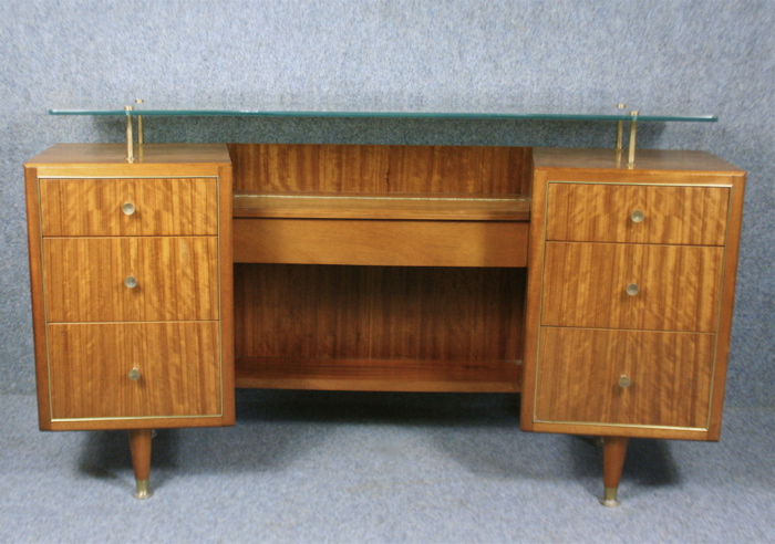 A 1950 S Kneehole Desk Or Dressing Table By Claude Gibbs
