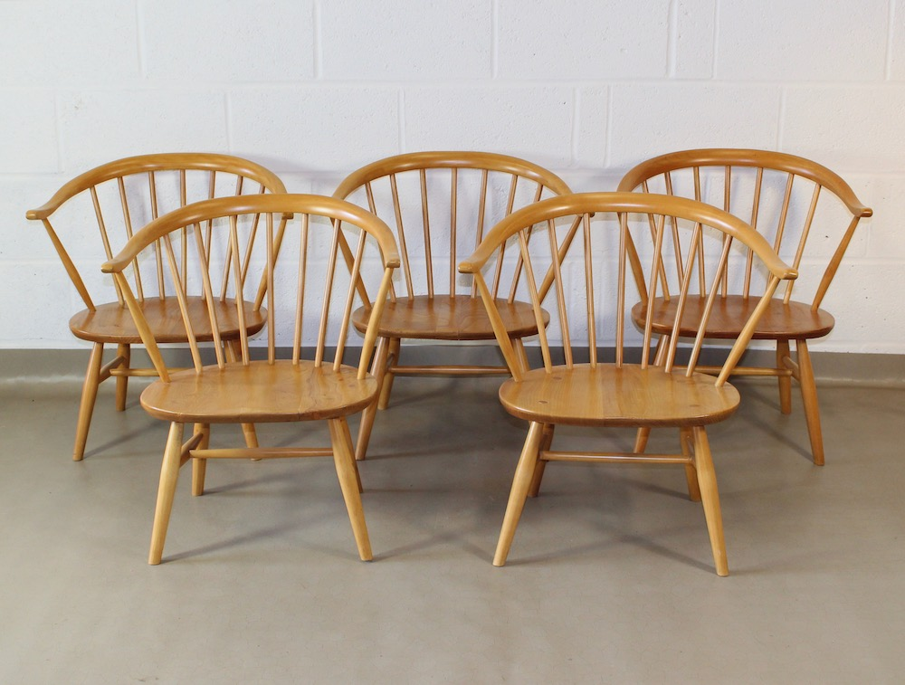 Five 1950's Ercol Windsor Fireside Ercol armchairs ...